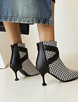 cheap -Women's Boots High Heel Pointed Toe Booties Ankle Boots Daily Outdoor Faux Leather Check Leopard Yellow White Black / Booties / Ankle Boots