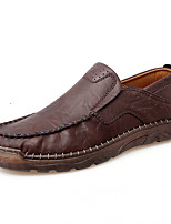 cheap -Men's Loafers & Slip-Ons Crochet Leather Shoes Comfort Loafers Business Casual Classic Daily Outdoor Leather Handmade Non-slipping Shock Absorbing Black Brown Fall Winter