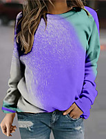 cheap -Women's Sweatshirt Pullover Color Block Print Daily Sports 3D Print Active Streetwear Hoodies Sweatshirts  Purple