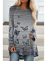 cheap -Women's Butterfly Painting T shirt Striped Butterfly Long Sleeve Print Round Neck Basic Tops Regular Fit Gray / 3D Print