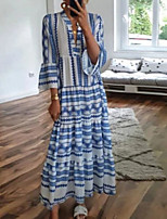 cheap -Women's Swing Dress Maxi long Dress Light Blue 3/4 Length Sleeve Geometric Print Fall V Neck Casual Boho Regular Fit 2021 S M L XL XXL 3XL