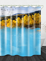 cheap -Landscape Printed Waterproof Fabric Shower Curtain Bathroom Home Decoration Covered Bathtub Curtain Lining Including hooks.