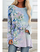 cheap -Women's Floral Theme Painting T shirt Floral Graphic Long Sleeve Print Round Neck Basic Tops Regular Fit Blue Purple Yellow / 3D Print