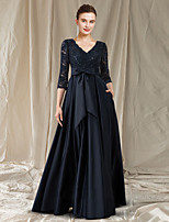 cheap -A-Line Cut Out Elegant Engagement Formal Evening Dress V Neck Long Sleeve Floor Length Lace Satin with Bow(s) Pocket 2021