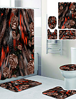 cheap -Vintage flowers Printed Bathroom home Decoration Bathroom shower curtain lining waterproof shower curtain with 12 hooks floor mats and four-piece toilet mats.