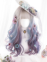 cheap -Lolita long curly synthetic wig female fog face gradient blend gradient bangs cute girl party synthetic role play