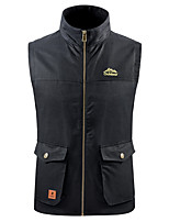 cheap -Men's Vest Gilet Daily Going out Fall Spring Short Coat Single Breasted V Neck Regular Fit Breathable Casual Jacket Sleeveless Plain Pocket Army Green Khaki Black