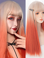 cheap -Long Straight Wig With Bangs Gold gradient orange color Synthetic Lolita Wig For Women High Temperature Wire Cosplay Wig