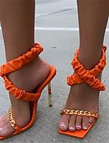 cheap -Women's Sandals Pumps Round Toe PU Solid Colored Pink Orange Black