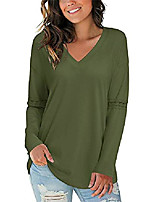 cheap -women's casual v-neck lace pleated shirt long sleeve loose fit solid blouse tops(army,s)