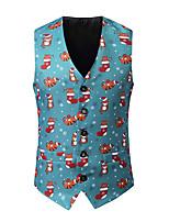 cheap -Men's Down Vest Christmas Fall Winter Regular Coat Single Breasted V Neck Regular Fit Warm Casual Jacket Sleeveless 3D Print Print Print Blue