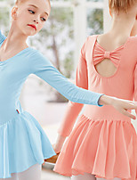 cheap -Ballet Dress Girls' Kids Dress Leotard Dancewear Spandex Cotton High Elasticity Quick Dry Breathable Sweat wicking Solid Color Long Sleeve Training Competition Ballet Dance Gymnastics Purple Blushing