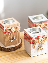 cheap -Vintage Candlestick Wooden Candlestick Gift Christmas Decoration Wooden Props Ornaments