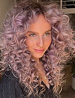"""cheap -16"""" lavender pastel purple curly wigs for women middle parted full density holy light violet curly 3a wigs synthetic wigs for black women"""