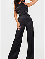 cheap -Jumpsuits Beautiful Back Reformation Amante Holiday Party Wear Dress Halter Neck Sleeveless Floor Length Charmeuse with Bow(s) 2021