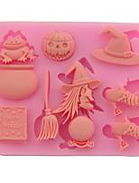 cheap -Halloween pumpkin broom witch shape silicone mold chocolate fondant cake baking DIY glue hand decoration