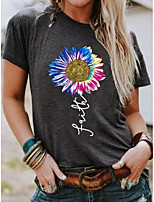 cheap -gray round neck floral printed casual shift shirts & tops
