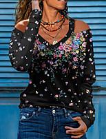 cheap -Women's Going out T shirt Floral Long Sleeve Print V Neck Sexy Tops Regular Fit Wine Green Black / 3D Print