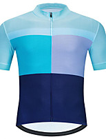 cheap -CAWANFLY Men's Short Sleeve Cycling Jersey Summer Blue Bike Tee Tshirt Jersey Top Road Bike Cycling Quick Dry Sports Clothing Apparel / Micro-elastic