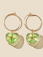 cheap -Women's Hoop Earrings Chandelier Petal Rustic Vintage Classic Modern Korean Earrings Jewelry Green For Party Gift Daily Club Festival 1 Pair