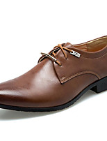 cheap -Men's Loafers & Slip-Ons Lace up Retro British Style Plaid Shoes Business Vintage Classic Wedding Office & Career PU Waterproof Non-slipping Wear Proof Black Brown Fall