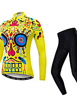 cheap -21Grams Women's Long Sleeve Cycling Jersey with Tights Spandex Blue+Yellow Skull Bike Quick Dry Moisture Wicking Sports Patterned Mountain Bike MTB Road Bike Cycling Clothing Apparel / Stretchy