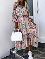 cheap -Women's A Line Dress Maxi long Dress Green Red 3/4 Length Sleeve Floral Ruffle Print Fall Round Neck Casual 2021 S M L XL XXL 3XL
