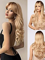 cheap -Blonde Wig with Bangs  Long Wavy Ombre Bang Wigs for White Women, Light Ash Blond Dark Roots Synthetic Heat Resistant Hair, Natural Cute Strawberry Wigs for Everyday/Party/Cosplay