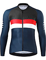 cheap -21Grams Men's Long Sleeve Cycling Jersey Spandex Red Dark Navy Color Block Bike Top Mountain Bike MTB Road Bike Cycling Quick Dry Moisture Wicking Sports Clothing Apparel / Athleisure