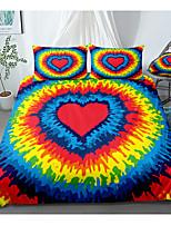 cheap -Print Home Bedding Duvet Cover Sets Soft Microfiber For Kids Teens Adults Bedroom Rainbow Heart 1 Duvet Cover + 1/2 Pillowcase Shams