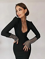 cheap -Sheath / Column Glittering Sexy Homecoming Cocktail Party Dress Jewel Neck Long Sleeve Knee Length Polyster with Sequin 2021