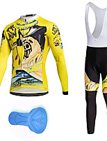 cheap -21Grams Men's Long Sleeve Cycling Jersey with Bib Tights Spandex Polyester Black / Yellow Cartoon Funny Bike Clothing Suit 3D Pad Quick Dry Moisture Wicking Breathable Back Pocket Sports Cartoon