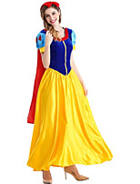 cheap -Snow White Dress Cosplay Costume Adults' Women's Halloween Halloween Halloween Festival / Holiday Polyster Yellow+Blue Women's Easy Carnival Costumes Solid Color / Cloak / Hair Band