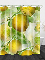cheap -Hand Drawn Fruits Printed Waterproof Fabric Shower Curtain Bathroom Home Decoration Covered Bathtub Curtain Lining Including hooks.