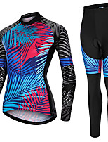 cheap -21Grams Women's Long Sleeve Cycling Jersey with Tights Spandex Polyester Blue Leaf Funny Bike Clothing Suit 3D Pad Quick Dry Moisture Wicking Breathable Back Pocket Sports Leaf Mountain Bike MTB Road