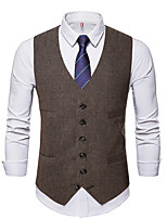 cheap -Men's Vest Daily Fall Regular Coat Regular Fit Thermal Warm Sporty Jacket Sleeveless Solid Color Pocket Gray Coffee