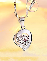 cheap -Pendant Necklace Necklace Women's Classic Cubic Zirconia Silver Plated Simple Fashion Classic Casual / Sporty Sweet Cute Silver 45 cm Necklace Jewelry 1pc for Street Gift Daily Prom Festival