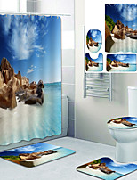 cheap -Lsland Scenery Printed Bathroom home Decoration Bathroom shower curtain lining waterproof shower curtain with 12 hooks floor mats and four-piece toilet mats.