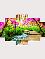 cheap -5 Panels Wall Art Canvas Prints Painting Artwork Picture Mountain stream Painting Home Decoration Decor Rolled Canvas No Frame Unframed Unstretched