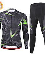 cheap -21Grams Men's Long Sleeve Cycling Jersey with Tights Winter Fleece Spandex Black Stripes Bike Quick Dry Moisture Wicking Sports Stripes Mountain Bike MTB Road Bike Cycling Clothing Apparel / Stretchy