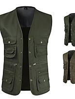cheap -Men's Vest Gilet Sport Daily Spring Summer Short Coat Regular Fit Lightweight Breathable Casual Jacket Sleeveless Solid Color Pocket Army Green Khaki