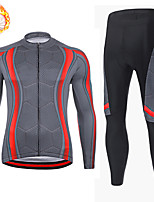 cheap -21Grams Men's Long Sleeve Cycling Jersey with Tights Winter Fleece Spandex Grey Bike Quick Dry Moisture Wicking Sports Geometric Mountain Bike MTB Road Bike Cycling Clothing Apparel / Stretchy