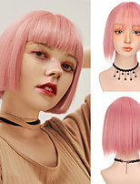 cheap -Bob Wig With Bangs for Women Synthetic Heat Resistant Black Pink Silvery Green Wig for Party Daily Use Cosplay Wig