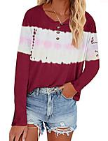 cheap -Women's T shirt Color Block Tie Dye Long Sleeve Button V Neck Basic Tops Regular Fit ArmyGreen Wine Light Purple
