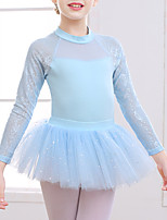 cheap -Ballet Leotard Gymnastics Suits Girls' Kids Skirt Dress Leotard Spandex Cotton High Elasticity Quick Dry Breathable Sweat wicking Solid Color Long Sleeve Training Competition Ballet Dance Gymnastics