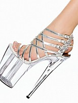 cheap -Women's Sandals High Heel Open Toe PU Buckle Solid Colored Silver Black / Knee High Boots