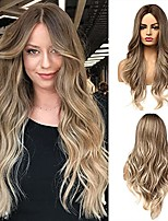 cheap -Ombre Brown Wig Long Ombre Brown To Blonde Wigs for Women Middle Part Hair Wig Synthetic Ombre Wavy Wigs for Daily Party(Brown To Ash Blonde)