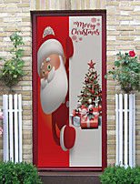cheap -2pcs Cartoon Santa Claus Self-adhesive Door Stickers For Living Room Diy Decoration Home Waterproof Wall Stickers 77x200cm