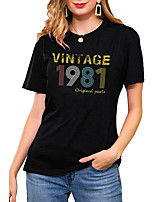 cheap -Women's T shirt Graphic Letter Print Round Neck Basic Vintage Tops Regular Fit Blue Blushing Pink Wine