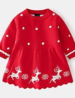 cheap -Kids Little Girls' Dress Cartoon Deer Animal A Line Dress Casual Daily Print Blushing Pink Red Above Knee Long Sleeve Basic Cute Dresses Fall Winter Regular Fit 2-8 Years